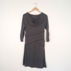 Athleta Charcoal Ukiah Half Sleeve Cowl Neck Dress